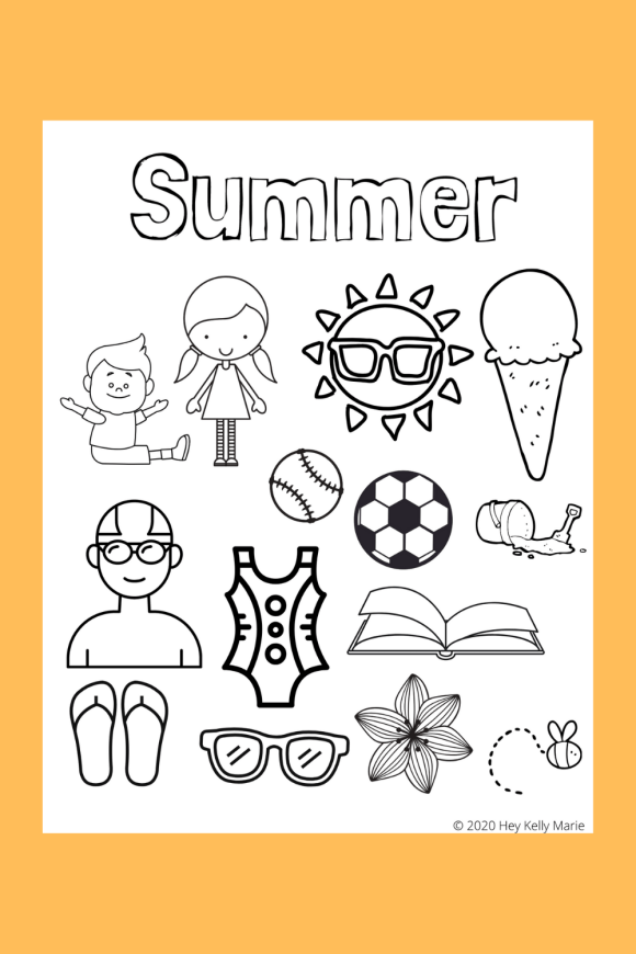 Image of Summer coloring page, the first page of the preschool summer activity pages packet.