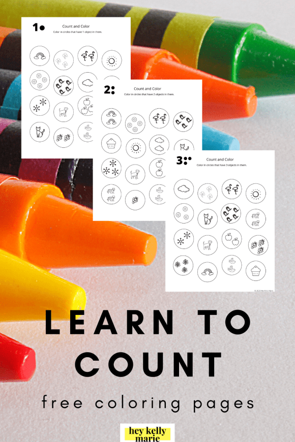 pinterest pin showcasing learn to count coloring pages