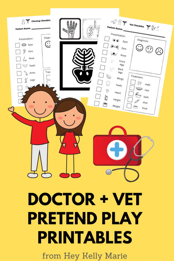Pinterest pin that describes doctor dramatic play printables.
