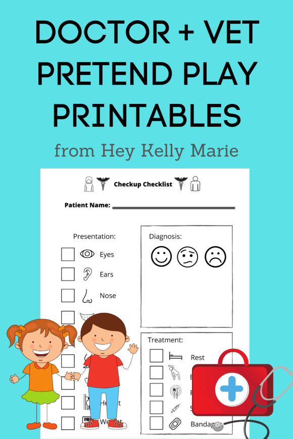 Pinterest pin showing doctor and vet pretend play printables.