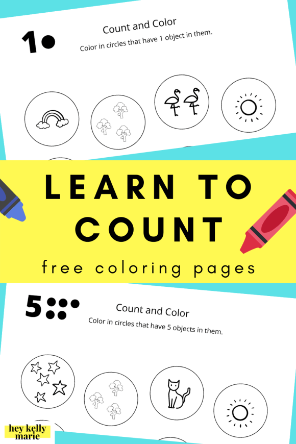 Pinterest pin learn to count free printable coloring pages
