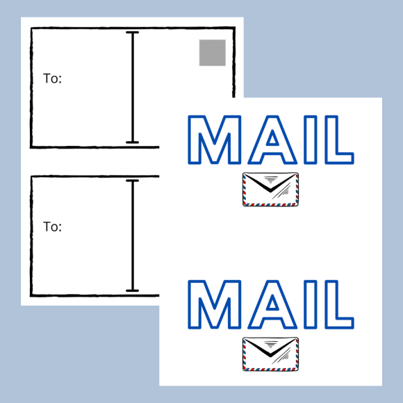 Post card and mail graphics are available to download for email subscribers.