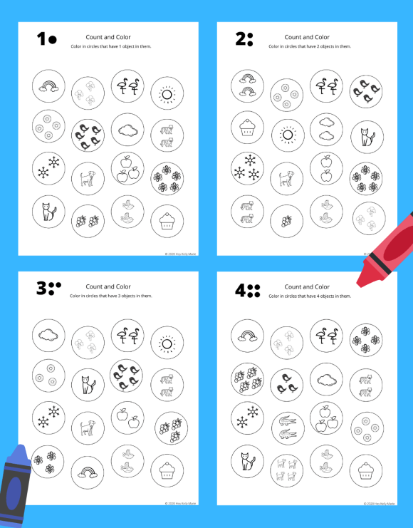 Preview pages of four learn to count coloring pages.
