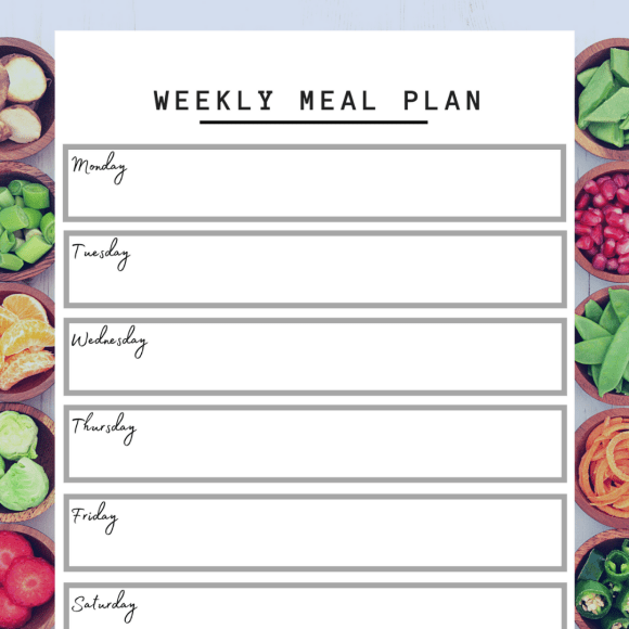preview of printable weekly meal planner
