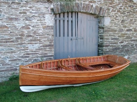 Traditional Wooden Clinker Rowing Boat1