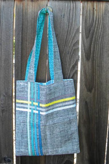 Have some extra ribbon lying around? This woven ribbon tote is a great way to use up your extra stash!