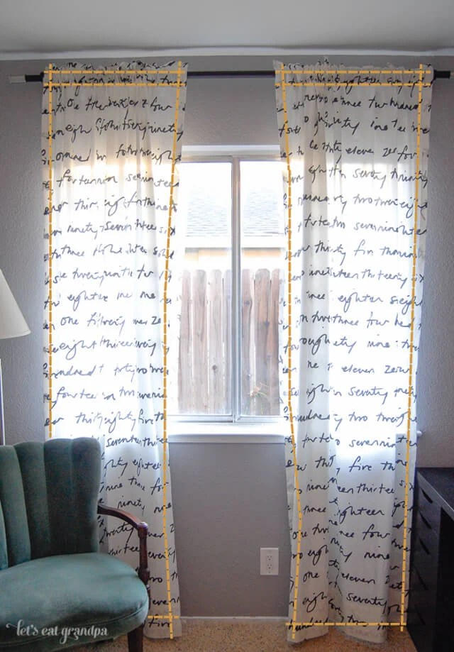 curtain hung from window showing sew lines