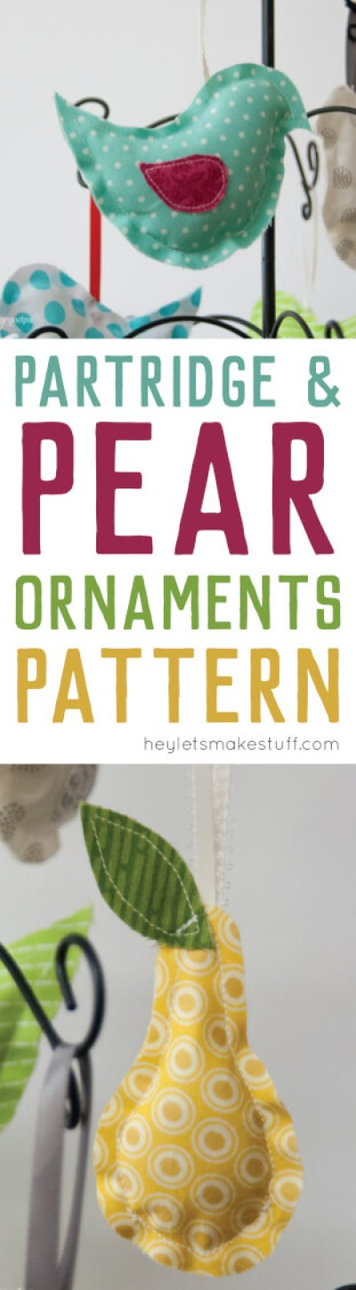 Sew these cute Partridge and Pear ornaments. Get the free pattern for this easy ornament sewing project!