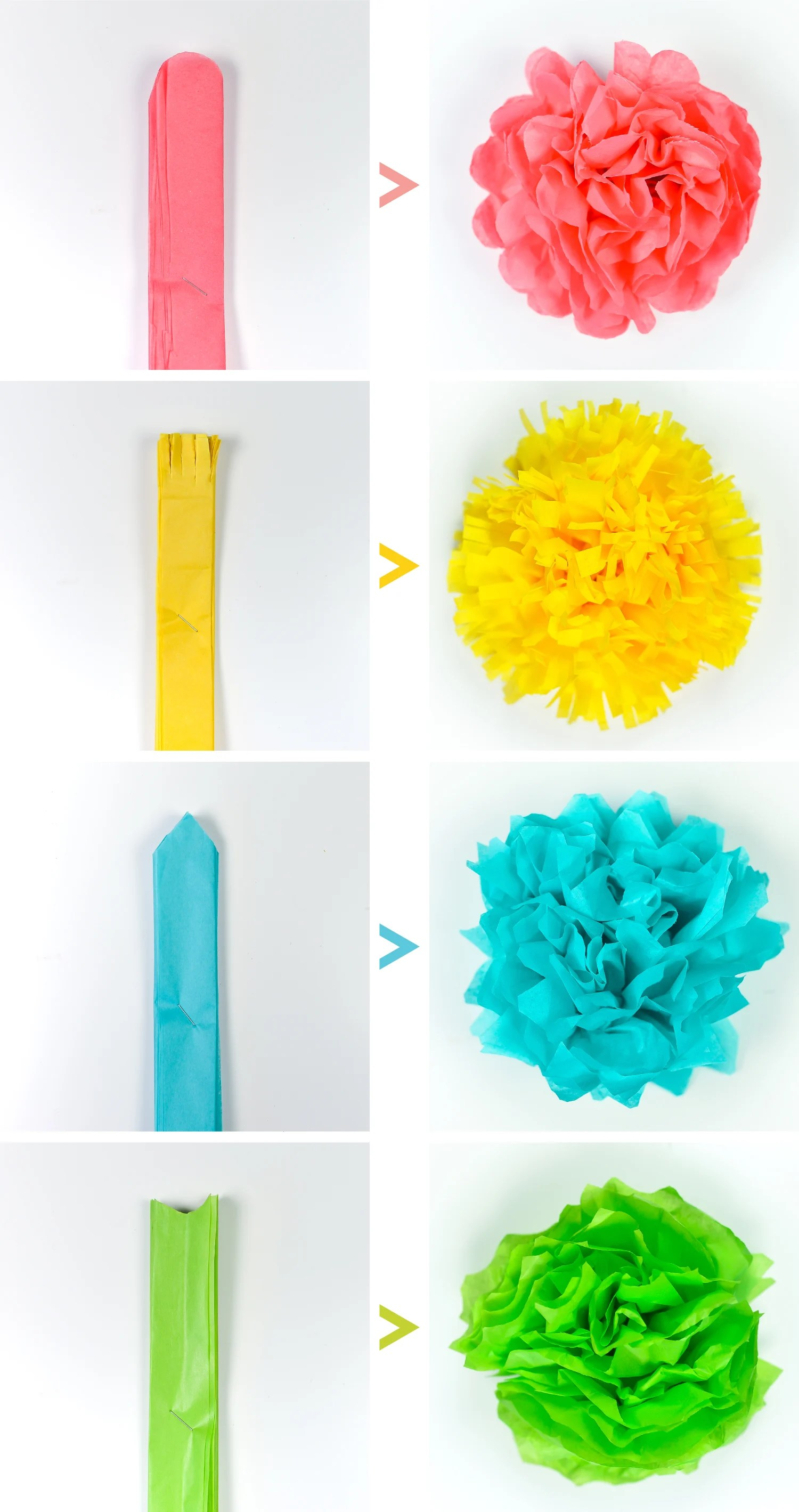 How To Make Tissue Paper Pom Poms Youtube How To Make Pom Poms With
