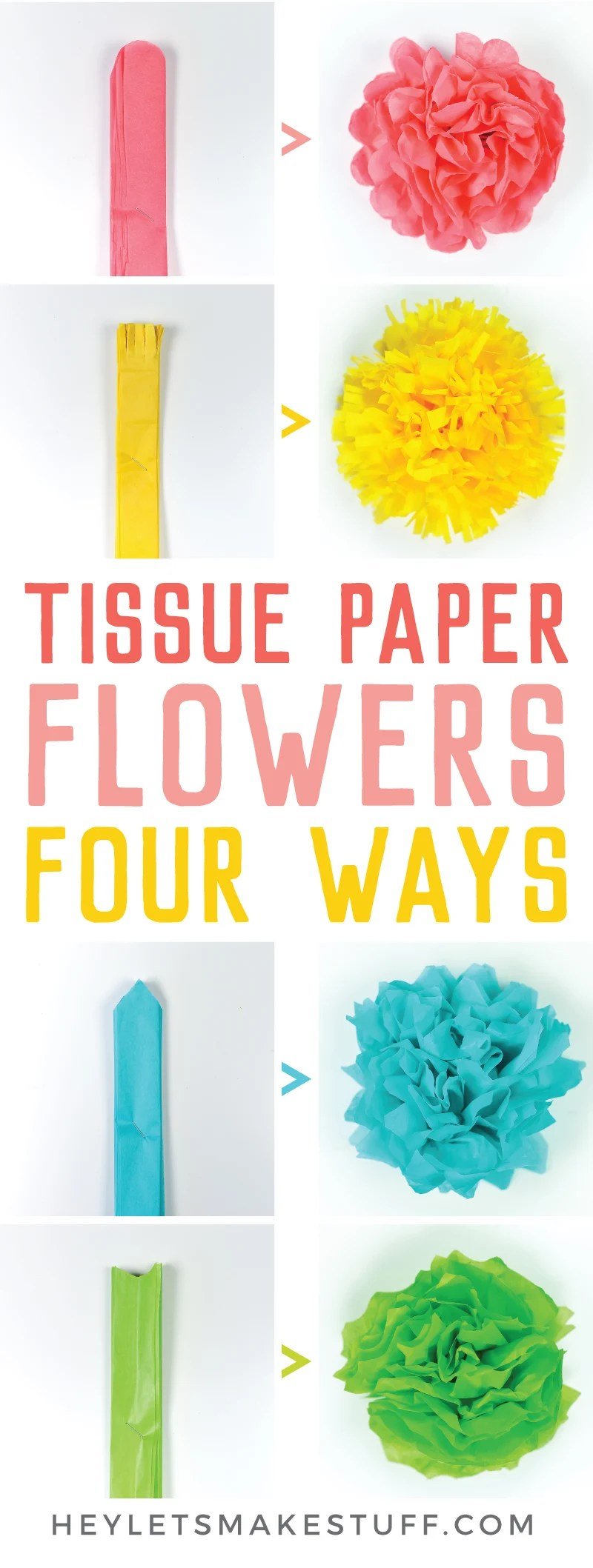 Tissue paper flowers make a gorgeous event decor with a big impact—think weddings, baby showers, bridal showers and more! Learn how to make easy tissue paper flowers, as well as different methods for cutting the petals to create four unique styles. via @heyletsmakestuf