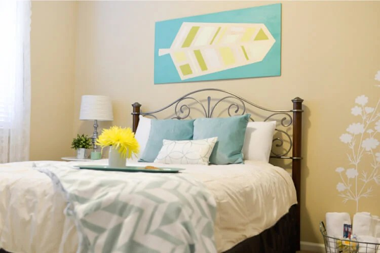 pretty bed in guest room