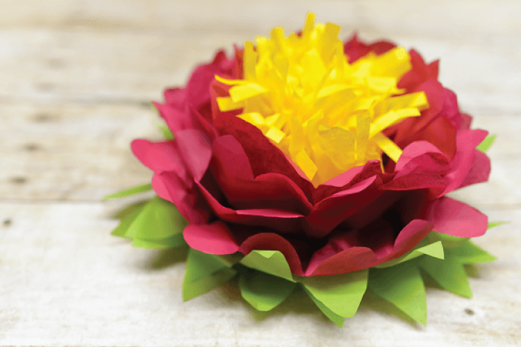 How to make a tri-color paper flower -- with three colors of tissue paper, it's easy!