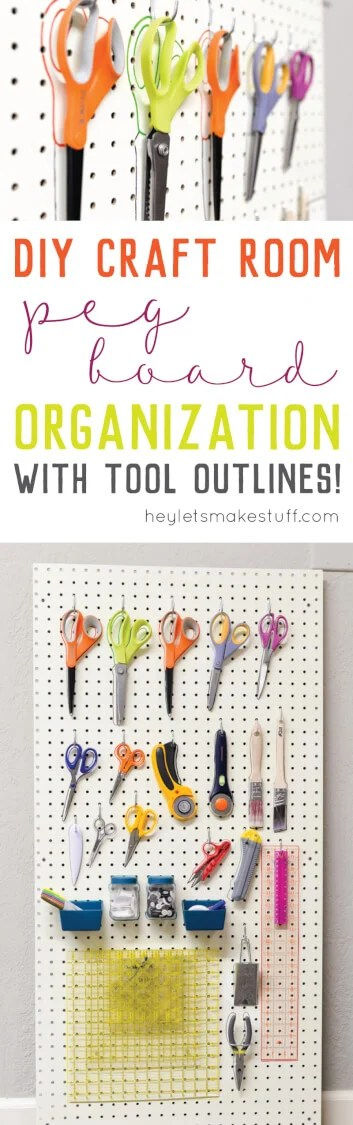 Peg board organization is a great way to clear off your desk and organize your sewing and crafting tools. Outline all your tools, too! via @heyletsmakestuf