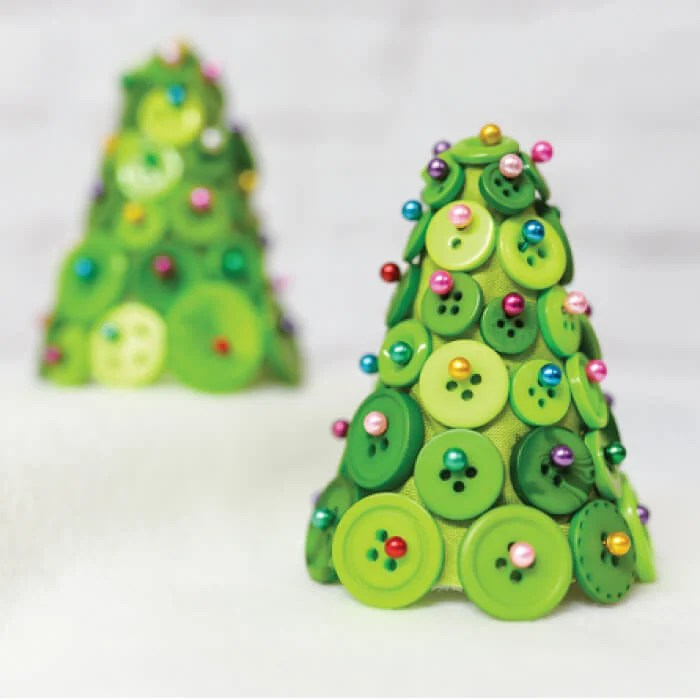 DIY Button Christmas Trees - Hey, Let's Make Stuff