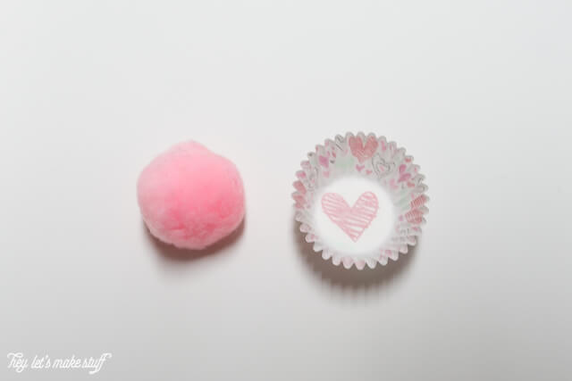 Puff balls and mini cupcake wrapper to make mini cupcake valentines