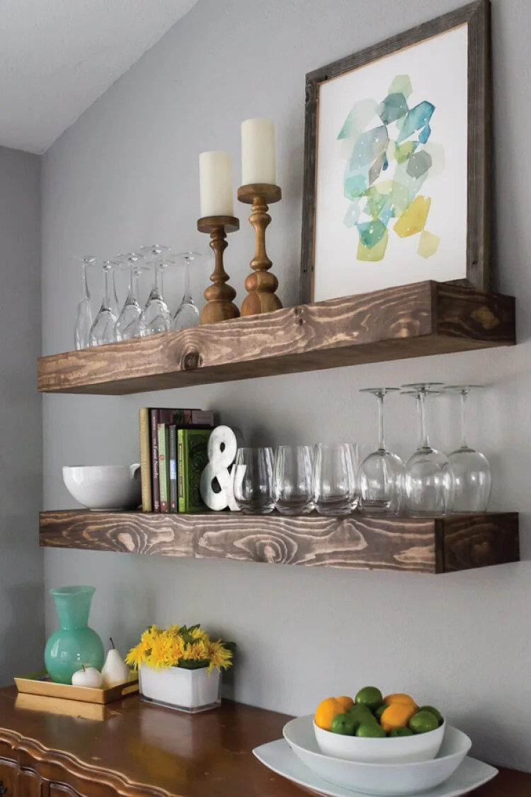 Create Dining Room Storage With Floating Shelves