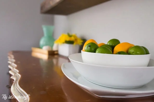home decor for top of kitchen buffet