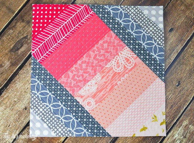 finished quilt block with quilt as you go technique