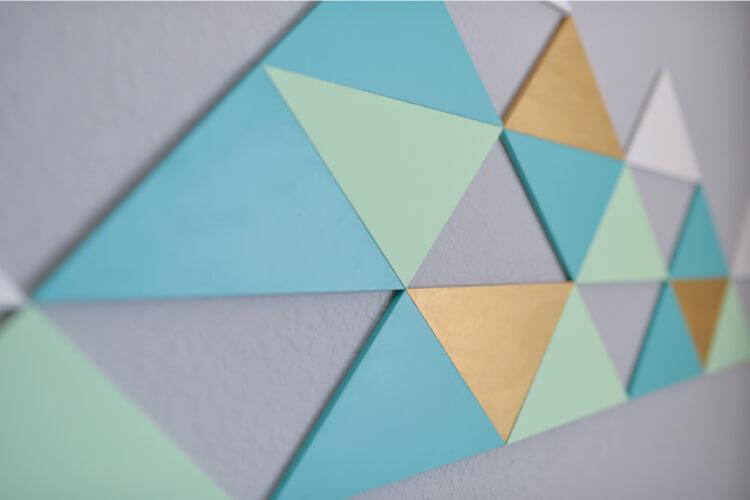 DIY geometric mountain art on wall