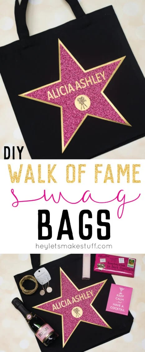 This Hollywood Walk of Fame Swag Bag is the perfect party favor for an Oscar party! Fill with all sorts of fun goodies for your guests and make them feel like a star! Includes an updated tutorial for making your own personalized star in Cricut Design Space. via @heyletsmakestuf