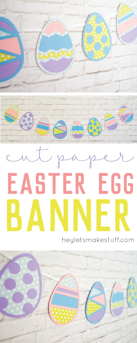 These SVG Easter egg cut files are perfect for a sweet Easter banner or other Spring decor! Cut them on your Cricut Explore. via @heyletsmakestuf