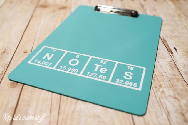 DIY periodic table clipboard closeup