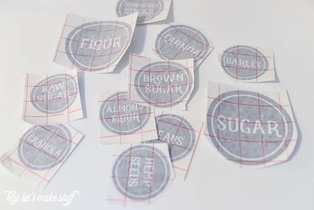 cutting out pantry labels with a Cricut