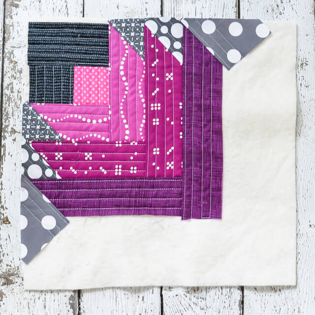 pattern showing how to make quilt as you go quilt block