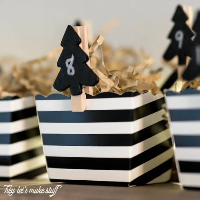 Make this easy adorable Advent calendar out of stuff from the Dollar Spot at Target and leftover Halloween candy!