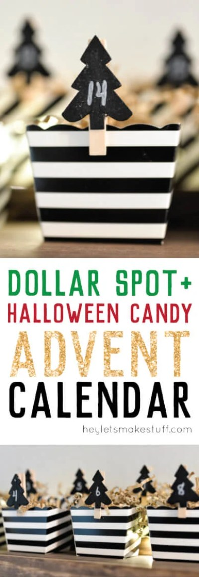 Make this easy DIY Advent calendar out of stuff from the Dollar Spot at Target and leftover Halloween candy!