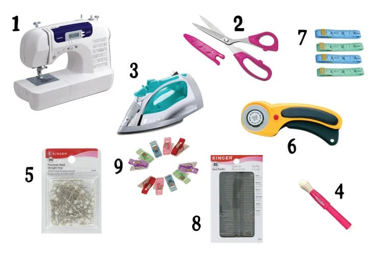 Sewing Gift Guide! Need a gift for someone who wants to learn how to sew? Here's a gift guide with everything they'll need to get started: sewing machine, scissors, iron, pins, seam ripper, rotary cutter, tape measure, sewing needles, and, my secret weapon, Wonder Clips!