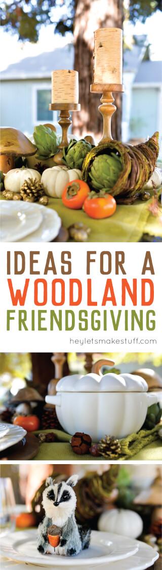Woodland Friendsgiving table setup with candles. white pumpkins, and cornucopias