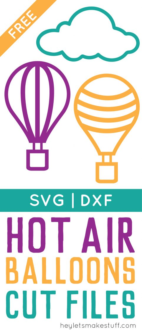 colorful hot air balloon and cloud SVG files pin image