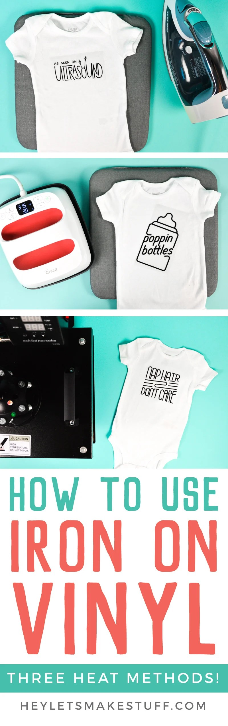 step by step instructions on how to use iron on vinyl (HTV) it to make these adorable bodysuits!