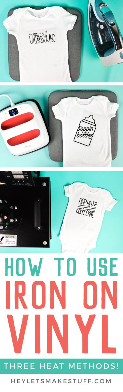 Here are step by step instructions on how to use iron on vinyl (HTV) it to make these adorable bodysuits! Learn tips and tricks for getting your iron on vinyl to adhere—updated in 2019 to include iron, EasyPress, and heat press methods.