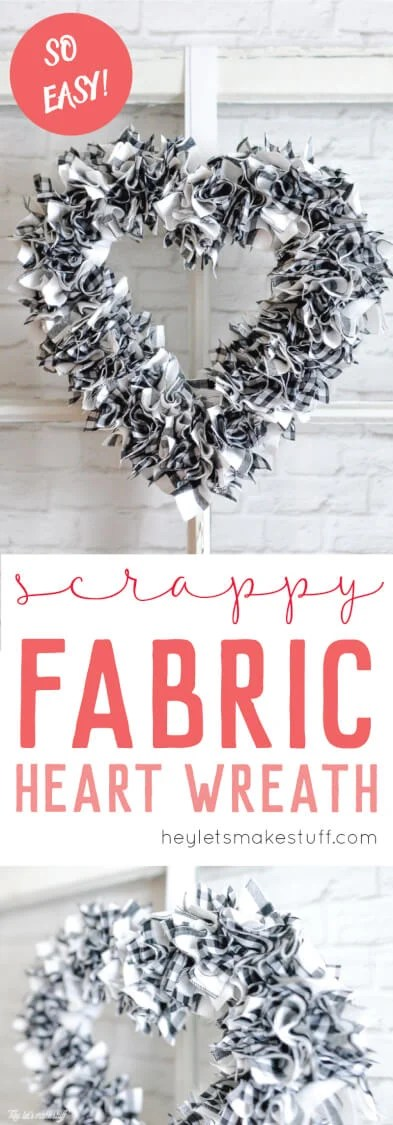I can't believe how quickly this scrappy heart wreath came together! Less than an hour to make, including the time to cut the fabric.  via @heyletsmakestuf