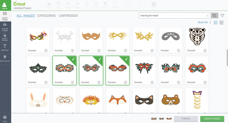 screenshot of Mardi Gras masks in Cricut Design Space