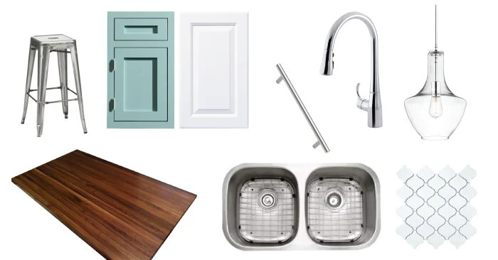 Our budget kitchen renovation inspiration board! We will turn our 1980s oak kitchen with painted cabinets, chrome lighting, and a modern backsplash.