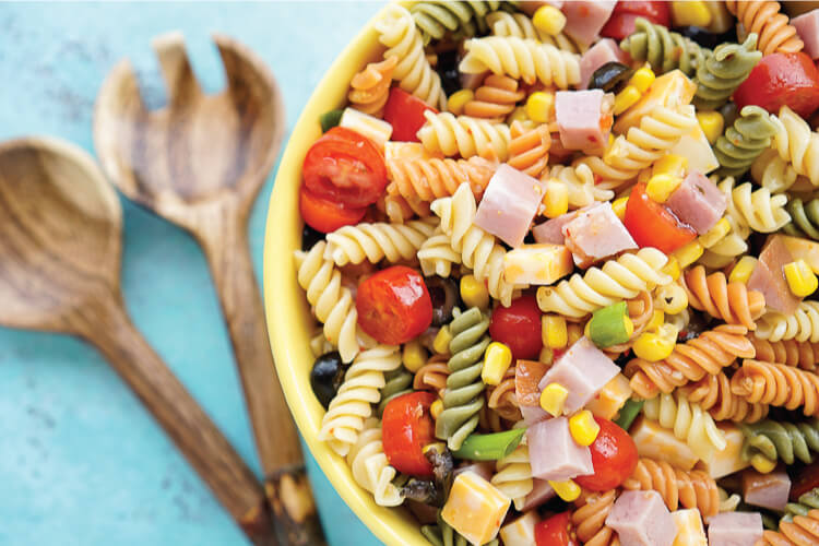 This easy summer pasta salad is perfect for barbecues and potlucks, with refreshing seasonal produce, flavorful ham and cheese, and a tangy dressing!This easy summer pasta salad is perfect for barbecues and potlucks, with refreshing seasonal produce, flavorful ham and cheese, and a tangy dressing!