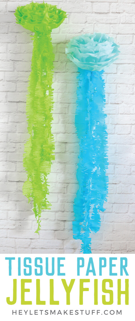 These tissue paper jellyfish are perfect for a mermaid birthday, under the sea party, or any other beachy event you might have!