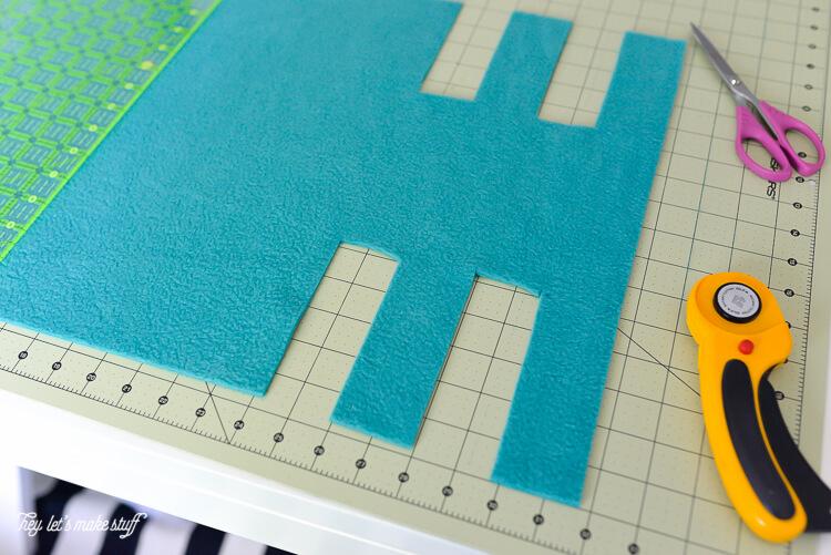 cutting fleece for crib rail cover