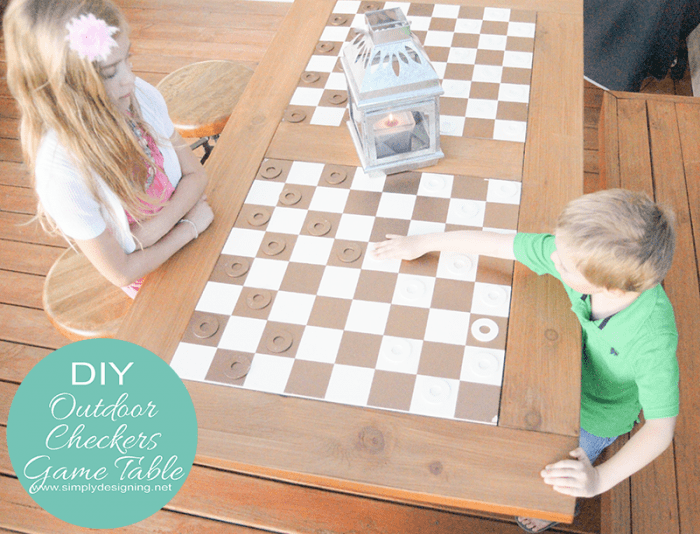 outdoor checkers set and table
