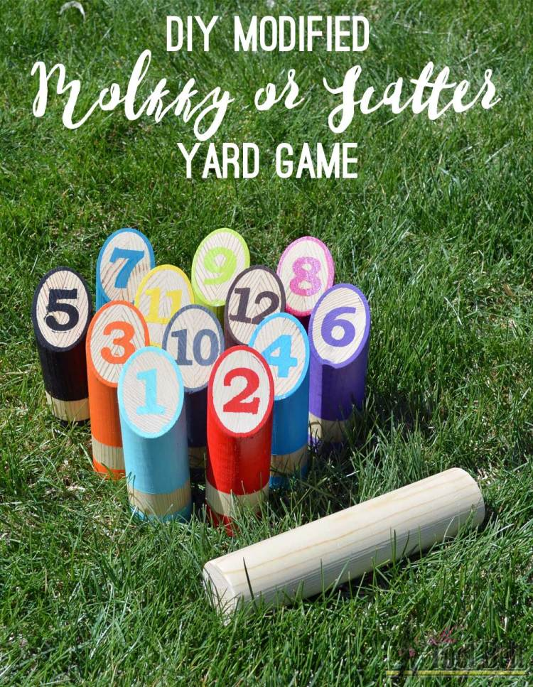 DIY Scatter Molkky yard game