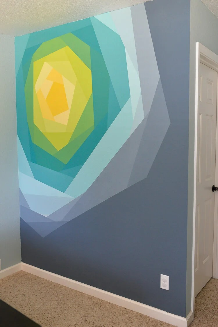 painted flower wall mural using Frog Tape