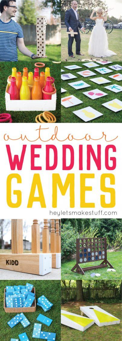 outdoor wedding games collage