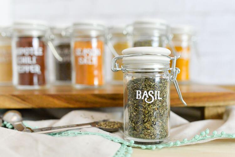 finished labels on spice jars