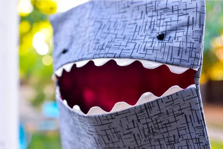 Easy-sew shark clothespin holder
