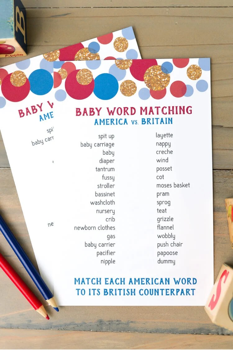 Test your knowledge of American and British baby words with this fun baby shower matching game! Perfect for an English tea party baby shower.