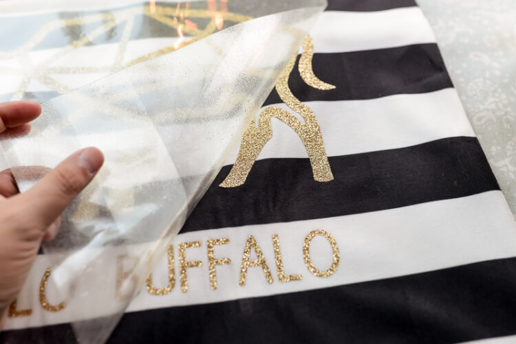 hullo buffalo SVG glitter vinyl cutout on pillow