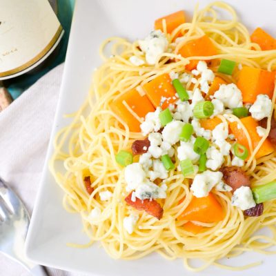 Butternut Squash Pasta with Blue Cheese and Bacon